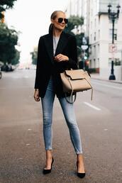 fashionjackson,blogger,jacket,t-shirt,jeans,shoes,sunglasses,bag,blazer,handbag,high heel pumps,fall outfits