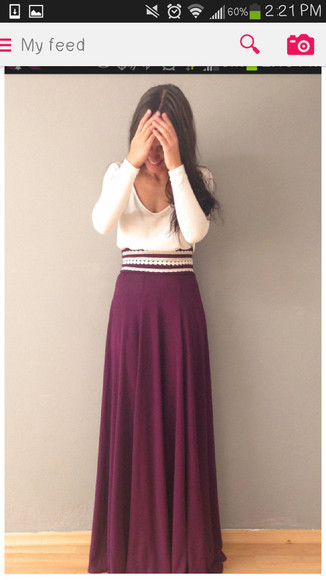 dress maxi white maxi skirt burgundy wine red flowy maxiskirt