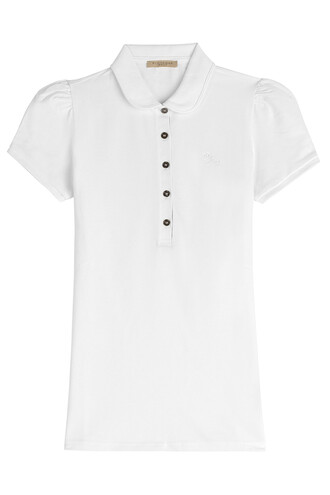 shirt polo shirt cotton white top