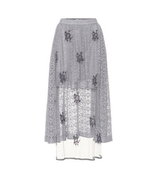 Stella McCartney Embellished lace skirt in grey
