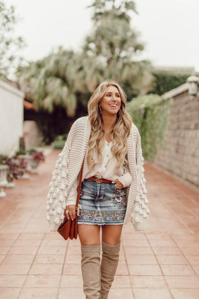 januaryhart blogger top cardigan skirt shoes bag belt chunky cardigan fall outfits over the knee