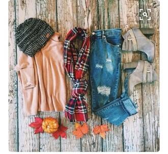blouse rose pink blush pink sweater sweater weather plaid fashionn fashion fall outfits fall sweater fall colors fashion week fashionista fashion week 2014 fashion week 2015 fashion inspo brown boots boots booties
