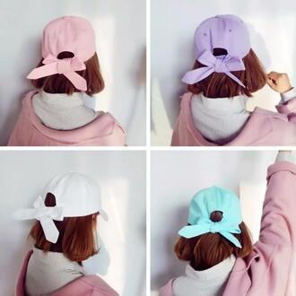 hat girl bow girly girly wishlist pastel pastel pink cap