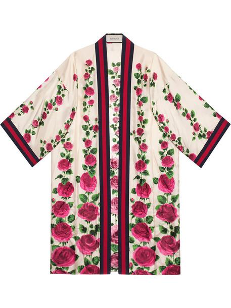 gucci kimono rose women print silk purple pink top