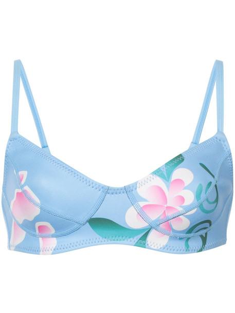 Cynthia Rowley bikini floral bikini bikini top women floral blue neoprene swimwear