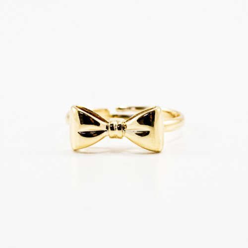 gold bow ring t j designs