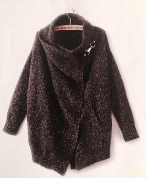 cool jacket grey black dark cardigan sweater