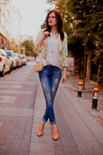 the bow-tie jacket jeans blouse bag shoes jewels
