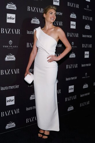 dress asymmetrical asymmetrical dress one shoulder prom dress gown sandals kate upton ny fashion week 2016 clutch