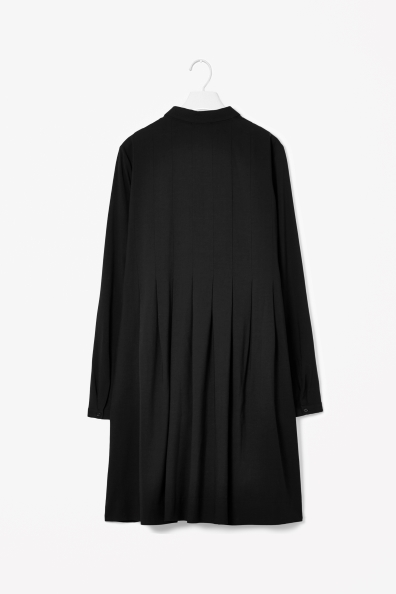 Pleated wool-mix dress