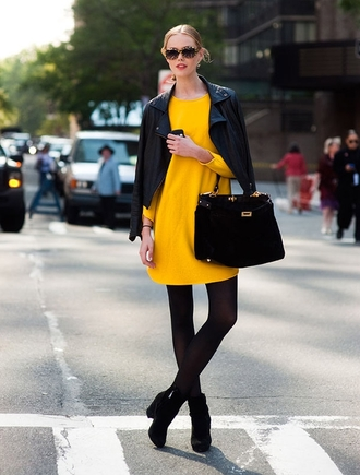 dress yellow bag model streetstyle sunglasses jacket shoes mustard dress fall dress long sleeve dress fall outfits tortoise shell tortoise shell sunglasses black leather jacket leather jacket black jacket black bag tights boots black boots opaque tights