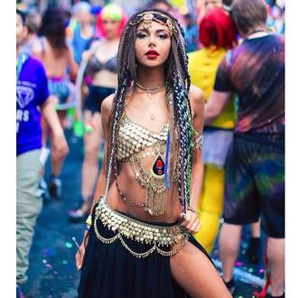 skirt golden gold black hippie gypsy
