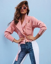 jacket,pink jacket,denim,blue jeans,patchwork,sunglasses,pink sunglasses,jeans