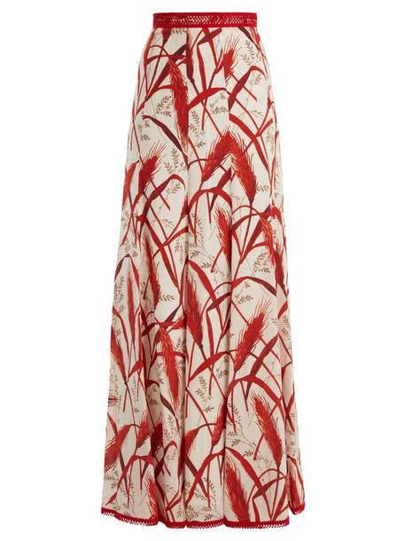 ANDREW GN skirt print silk white red