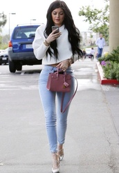 jeans,kylie jenner,high waisted jeans,light blue jeans,sweater,bag,shoes