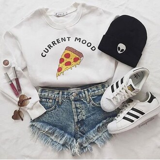 sweater pizza white sweater