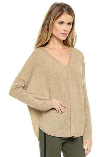 Khaki batwing sleeve loose sweater