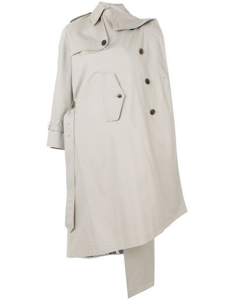Balenciaga coat trench coat women nude cotton wool