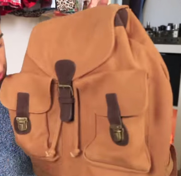 bag backpack brown back to school clothes cool leather buckskin brown backpack