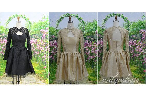 Short taffeta bridesmaid dress  long sleeves by onlyudress on etsy