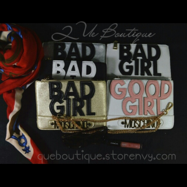 """bad moschino good"" handbag purse tote"