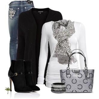 bag coach madison tote cardigan jeans t-shirt boots high heels scarf bangles