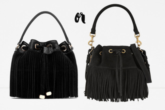 carolines mode blogger suede bag black bag fringed bag