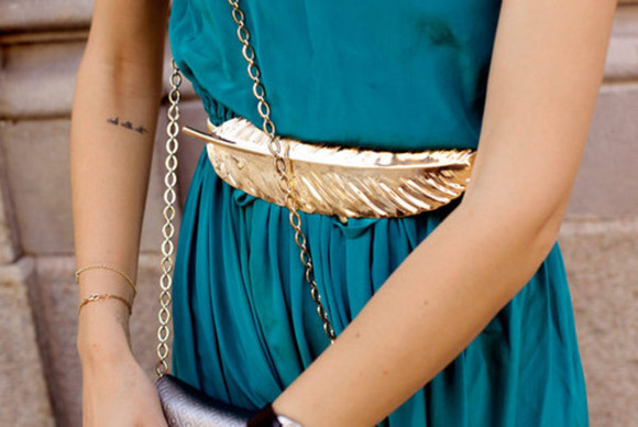 golden belt Belt gold feather feather belt