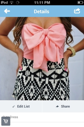 dress shorts black and white tribal print shirt jumpsuit bow pink black and white blouse