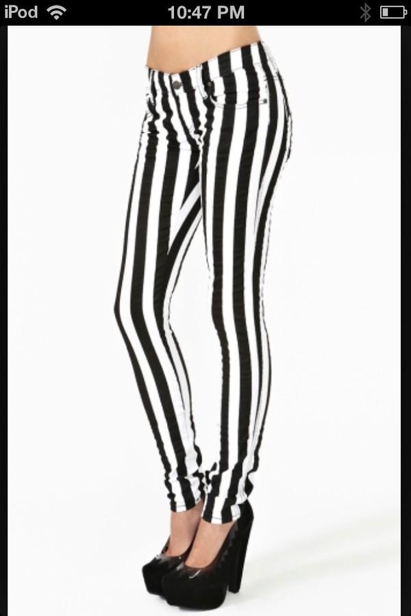 jeans stripes black white skinny jeans cute punk rock skinny black and white pants