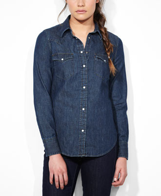 Levi's Tailored Western Shirt - Medium Stone - Tops