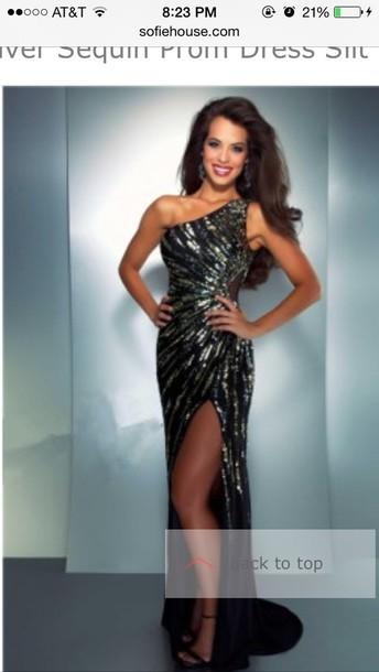 dress prom dress shiny black dress prom gown slit dress sexy dress prom dress prom dress sparkly dress one shoulder