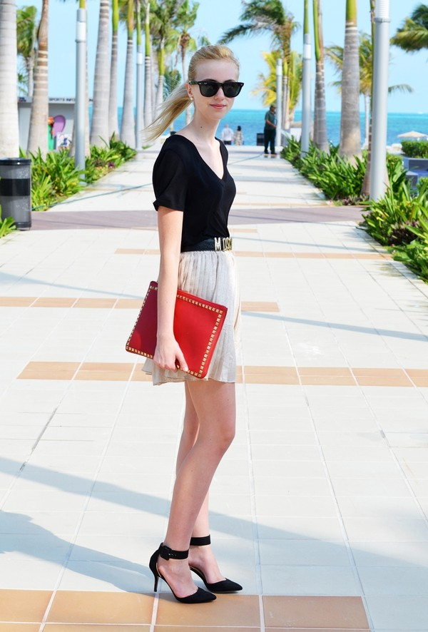 vogue haus shirt skirt shoes bag belt jewels sunglasses