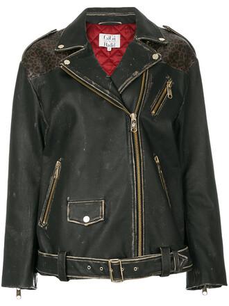 jacket biker jacket women print black leopard print