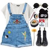 overalls,denim,short overalls,the powerpuff girls,yin yang,denim overalls