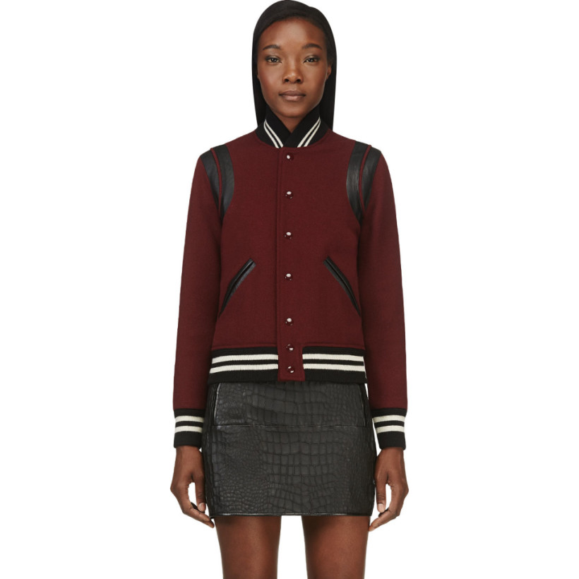 Saint Laurent - Burgundy Wool Teddy Bomber Jacket