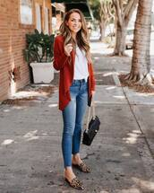 shoes,mules,flats,jeans,skinny jeans,white blouse,cardigan,handbag