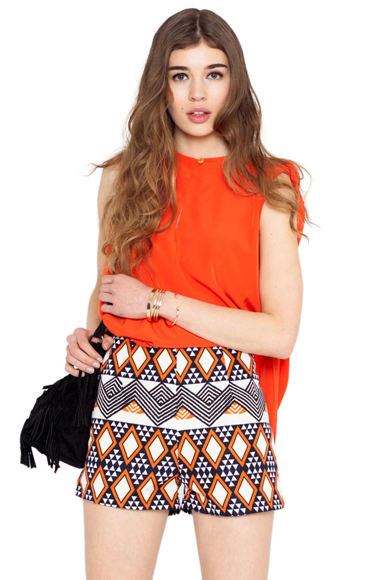 Lai tribal shorts orange