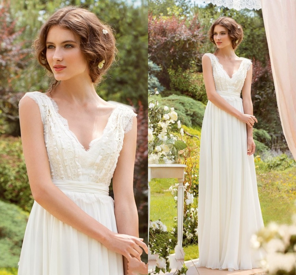 Buy charming v neck white long wedding for Wedding dress appliques suppliers