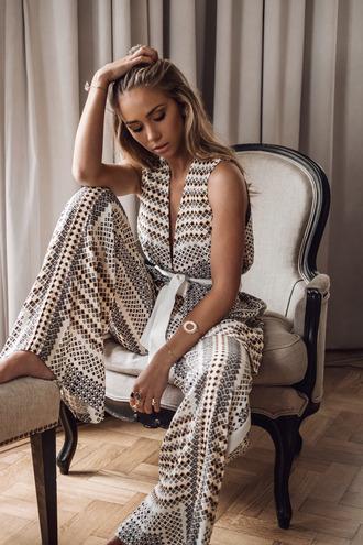 lisa olsson blogger jewels jumpsuit wide-leg pants v neck
