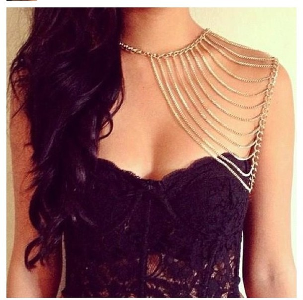 jewels gold chain necklace gold Accessory gold body chain underwear jewelry body chain