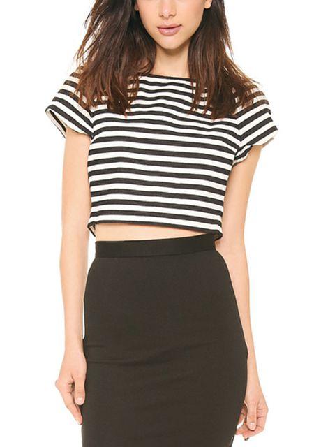 Women's round neck short sleeve stripe printing back zipper loose short t