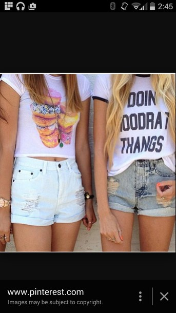 shirt hoodrat t-shirt High waisted shorts summer top top donut crop tops