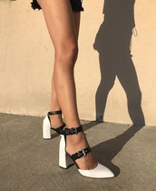 shoes,black white buckle