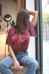 top,tumblr,pink top,v neck,wrap top,velvet,velvet top,denim,jeans,blue jeans,gucci,gucci belt,logo belt