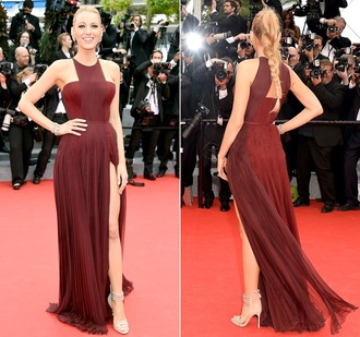 red dress blake lively cannes 2014 dress burgundy