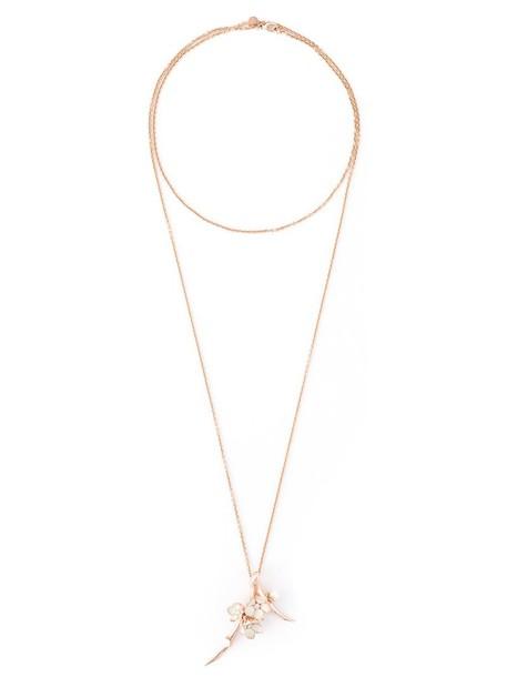 cherry long women necklace pendant silver grey metallic jewels