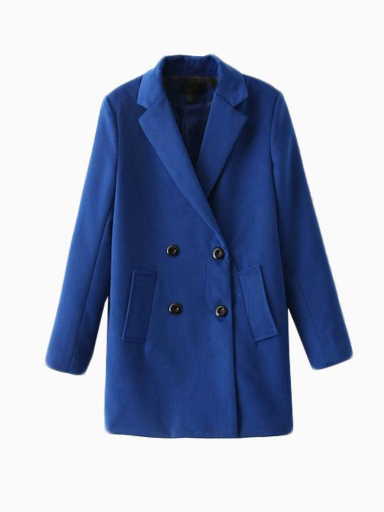 Blue Wool Longline Coat | Choies