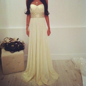 dress white long white dress strapless prom dress
