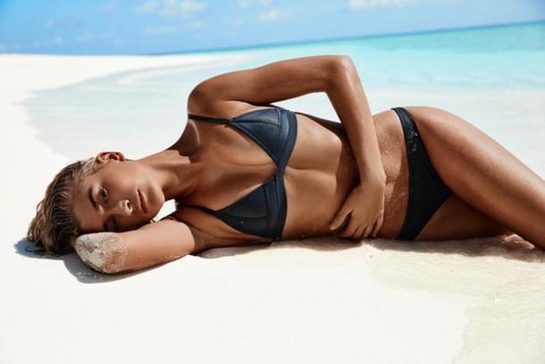 swimwear bikini bikini top bikini bottoms summer beach model hailey baldwin
